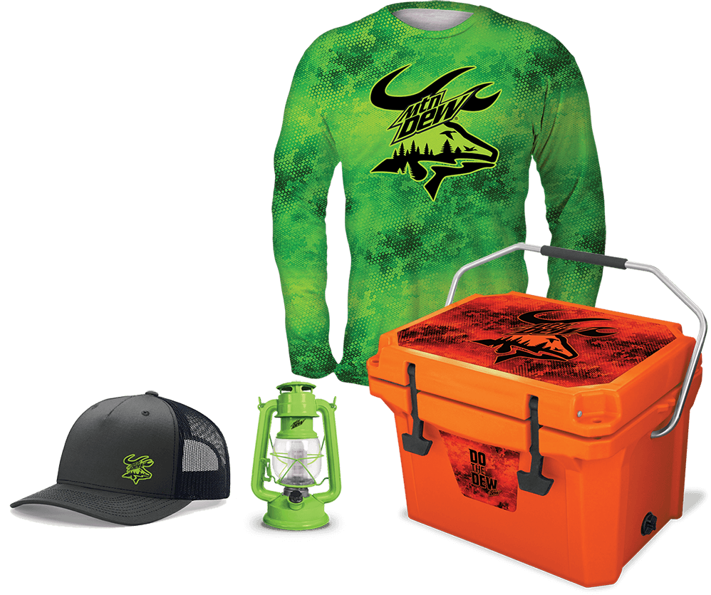 (1) Custom Dew® True 22 Cooler, (1) Custom Dew® Tech Tee, (1) Custom Logo Dew® Cap, (1) Custom Dew® LED Lantern